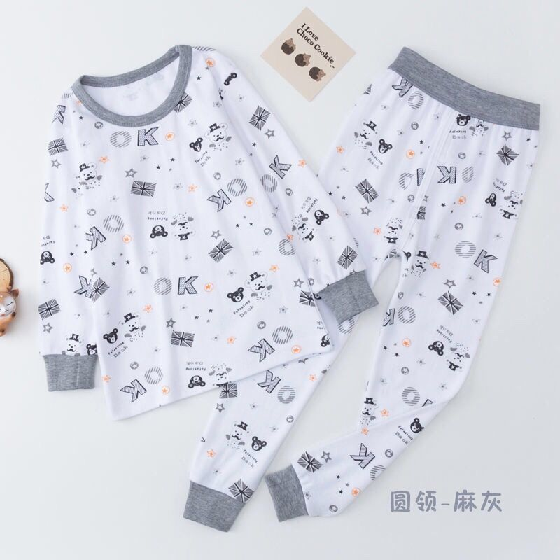 Childrens autumn clothes and trousers set pure cotton middle school childrens all cotton underwear boys and girls high and low collar shirt babys cotton sweater