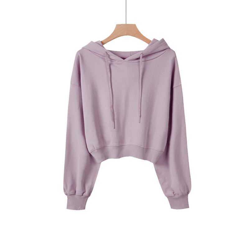 Short hooded sweater womens spring and autumn thin 2020 new Hoodie round neck loose Korean long sleeve lazy top