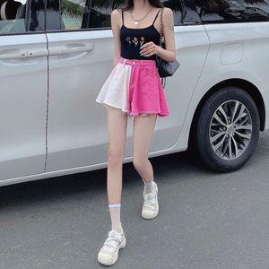 泫雅风拼色高腰牛仔裤夏季女款热裤裙裤辣妹穿搭显瘦阔腿a字短裤