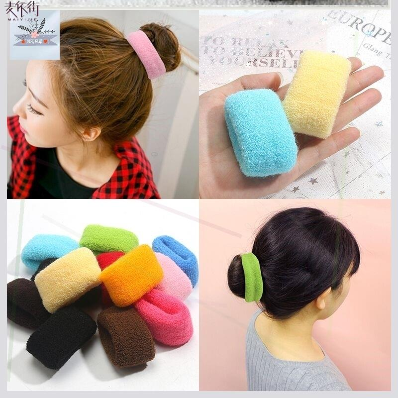Large towel thick coil hair loop head rope rubber band wool knitting does not hurt hair accessories hair accessories leather cover no magic