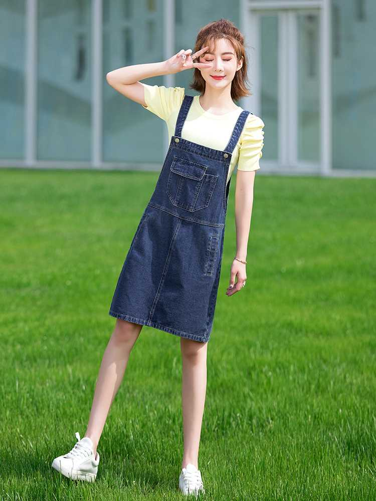 Denim suspender skirt women loose and thin age reduction summer new fashion retro small cute large pocket suspender skirt
