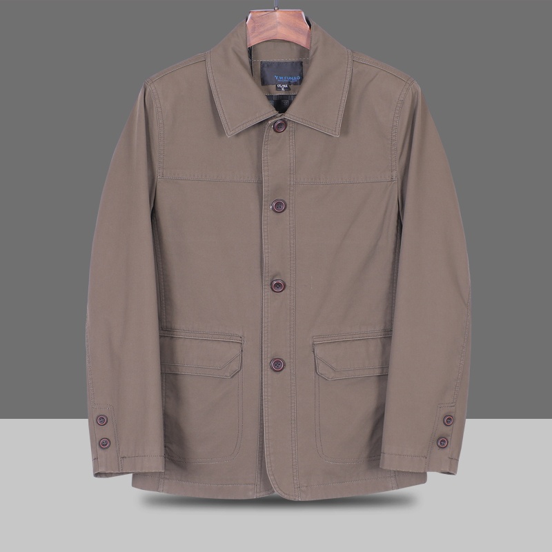 Mens cotton jacket all cotton washable middle-aged mens jacket middle-aged mens Lapel button version casual coat fathers coat