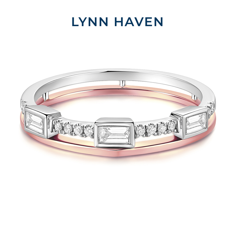 Lynnhaven coco Lin jewelry fashion double layer 18K gold ring female diamond ring light luxury personality overlay