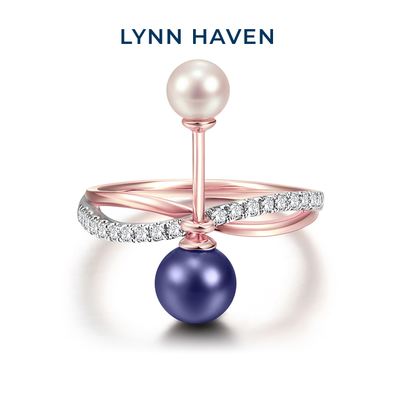 Lynnhaven coco Lin jewelry fashion 18K gold natural black and white double pearl ring set with diamond ring female