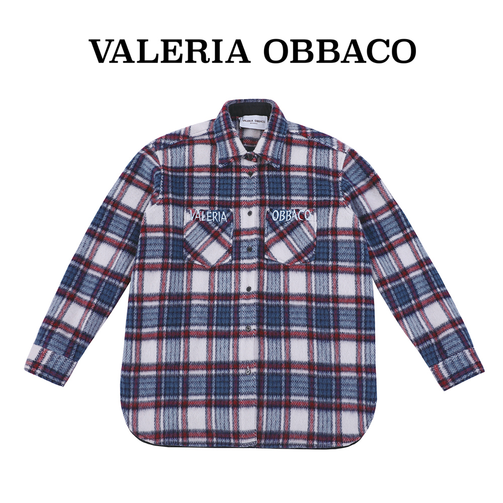 Valeria obbaco Mao Xiaotong same VO Blue Wool Plaid Shirt coat medium length top for men and women