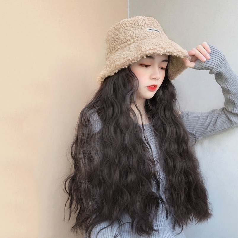Fishermans hat with hair big wave one wig long curly hair wear trend long hair wool simulation fashion womens net red