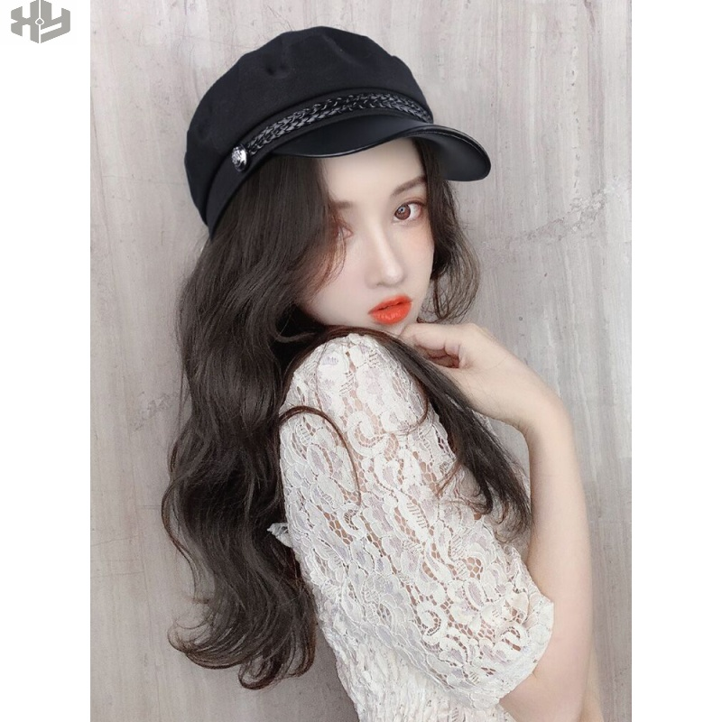 Trend wig with one-piece headband curly hair detachable headband detachable long headband autumn Beret