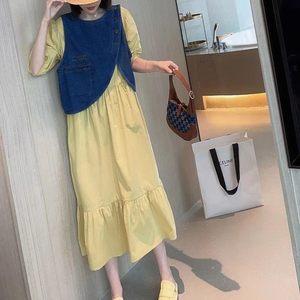 套装裙两件套夏欧货连衣裙黄色长款牛仔马甲女2021宽松时尚欧洲站