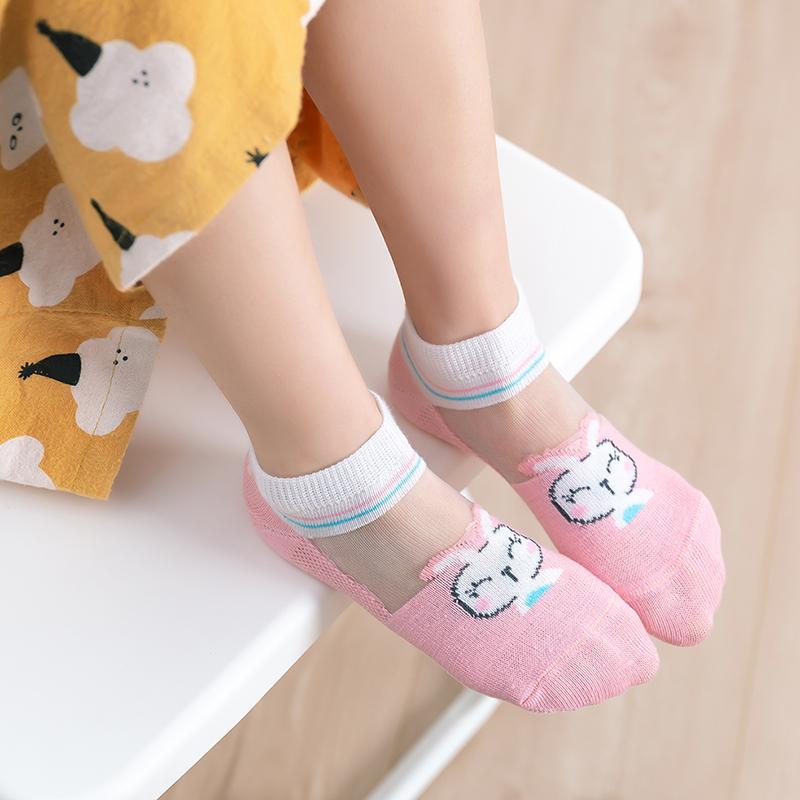 妙乐童袜子夏季超薄儿童冰丝袜水晶船袜女童短袜宝宝萌宠童袜网眼