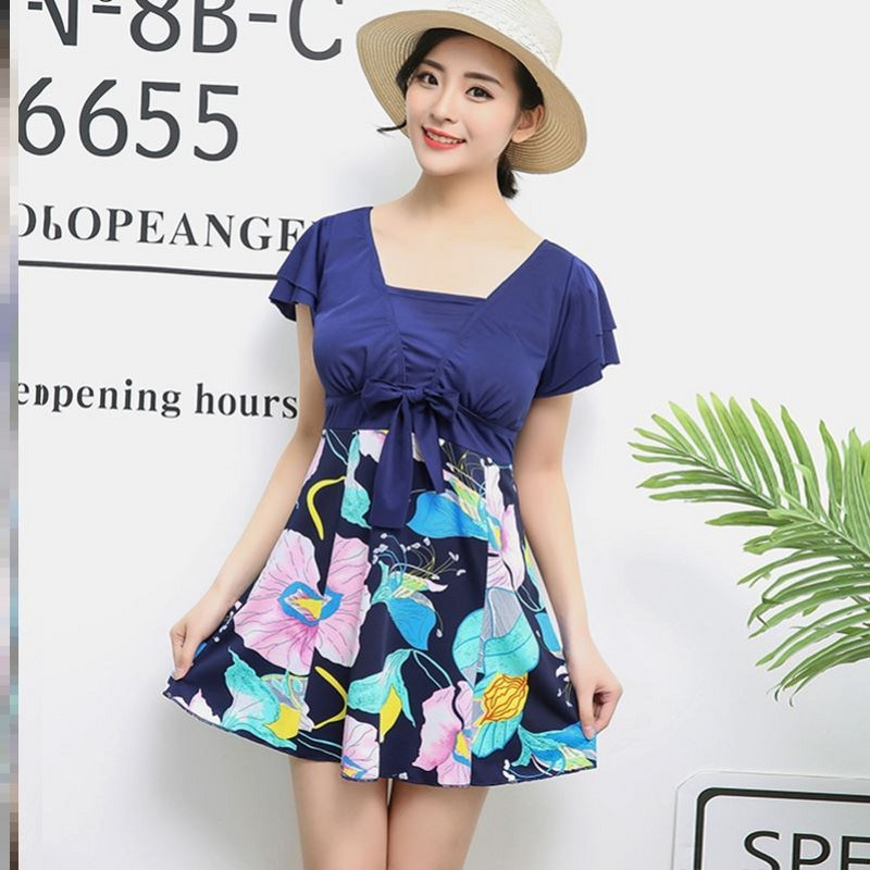 Off shoulder swimsuit mother style fashion dress fresh one-piece swimsuit female conservative belly covering integrated middle-aged and elderly