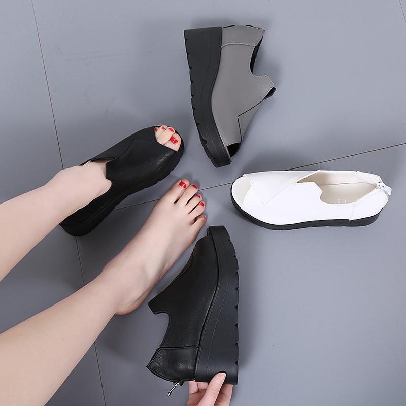 2020 summer new fish mouth sandals muffin bottom flat back zipper womens shoes anti slip comfort increase waterproof platform slope heel women
