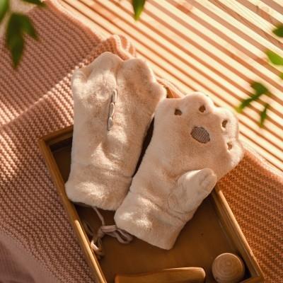 韩版冬天女学生可爱棉毛绒熊爪手套冬季ins 加绒圣诞保暖挂脖连指