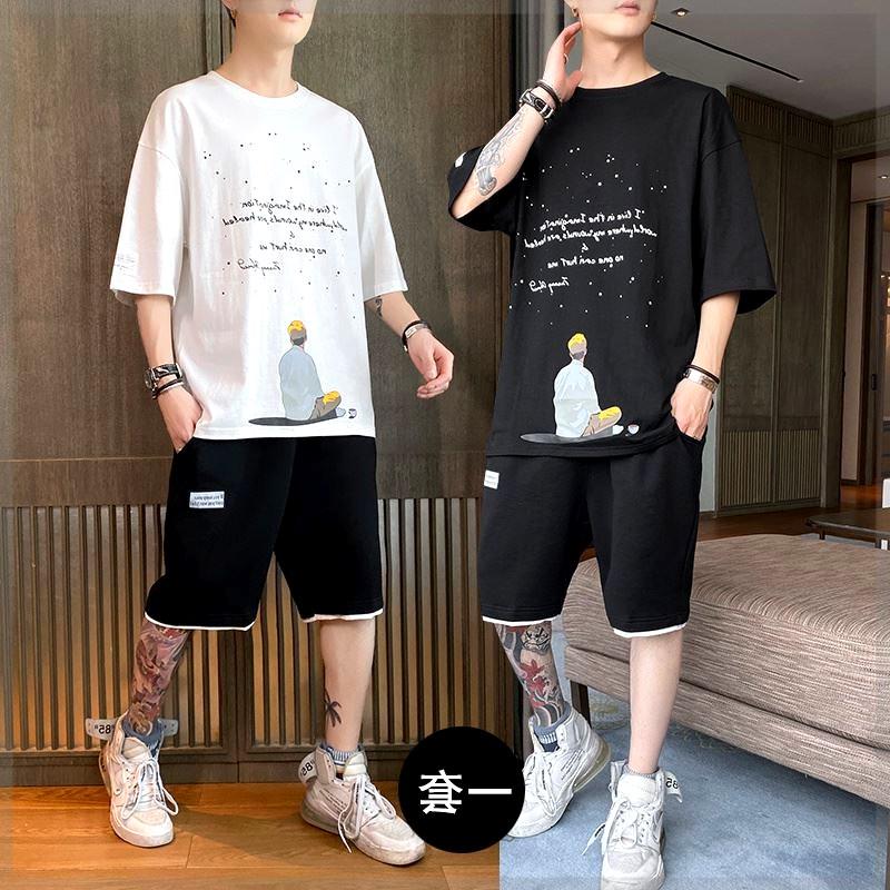 短袖T恤男夏季潮流帅气15岁大童青少年运动套装高中初中学生夏装