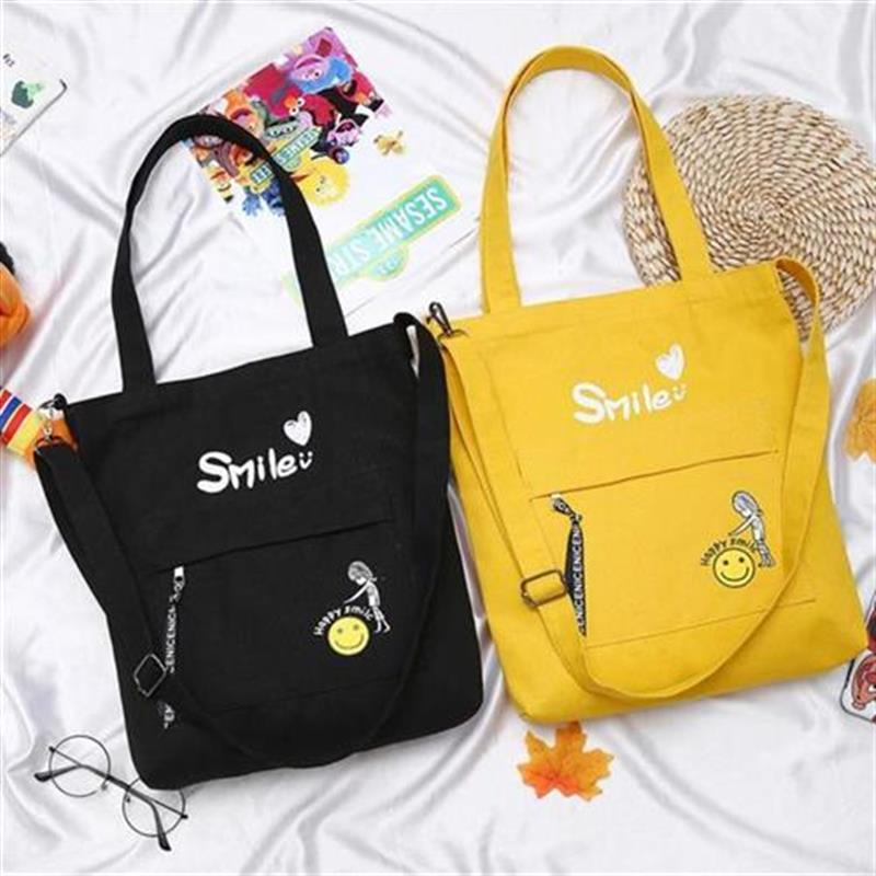 i。 Classic student single shoulder cross sail cloth bag Japanese pull lovely decoration hand J machine side chain bag