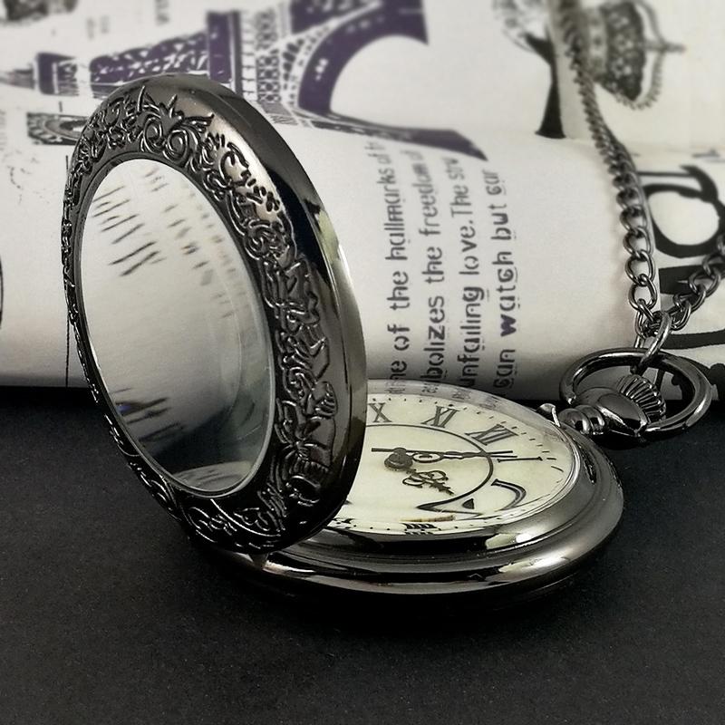 . Roman pocket watch schoolboy Girl Necklace Watch retro flip electronic quartz mechanical pendant simple personality old
