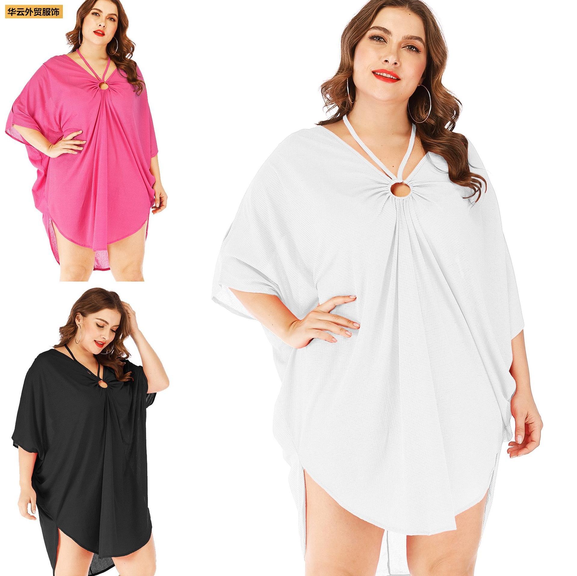 Irregular blouse deep V halter plus size women's dress罩衫女