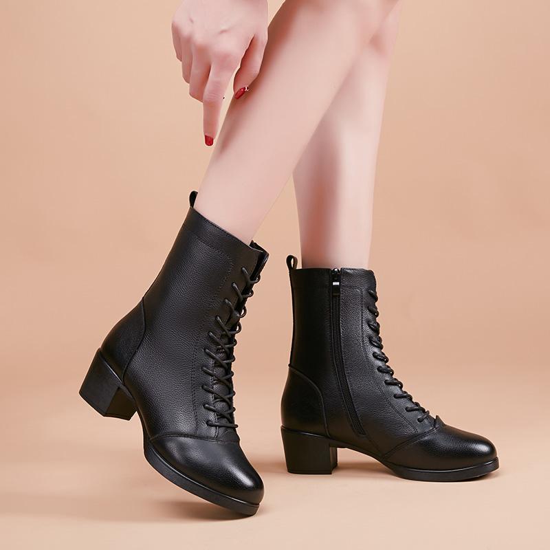 Dance of butterflies 2021 Navy dance shoes leather dance shoes Square Dance womens shoes middle heel dance shoes jazz dance boots