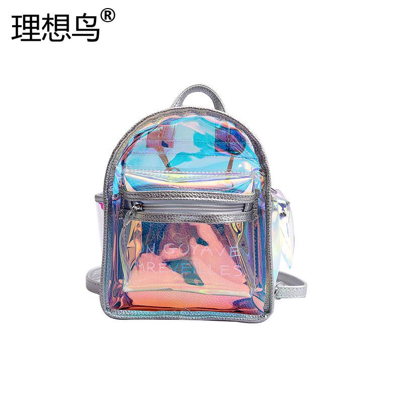 Backpack womens laser 2021 new letter backpack leisure college style schoolbag travel versatile womens bag trend