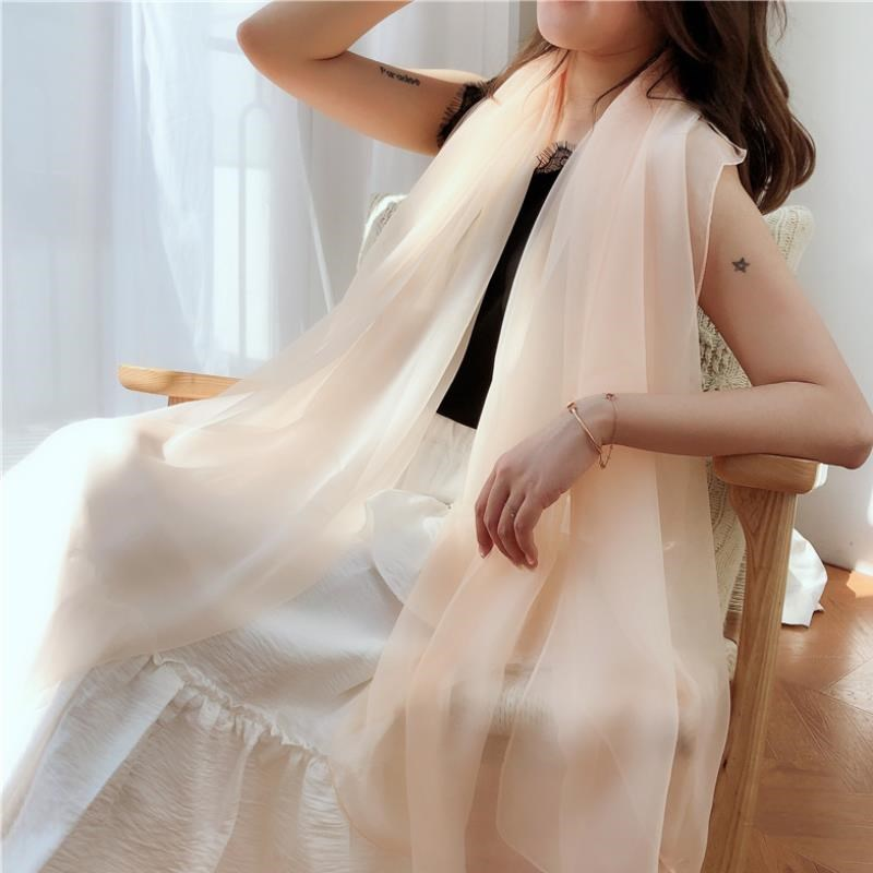 Silk scarf spring and summer light Chiffon Scarf ultra thin pure color Silk Neck Long Beach sunscreen shawl beach towel