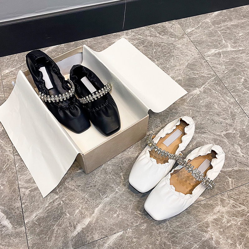 2021jc new flat bottomed ballet shoes with one-line belt, Rhinestone chain, square head, shallow mouth, single shoe, grandmas shoes, small leather shoes