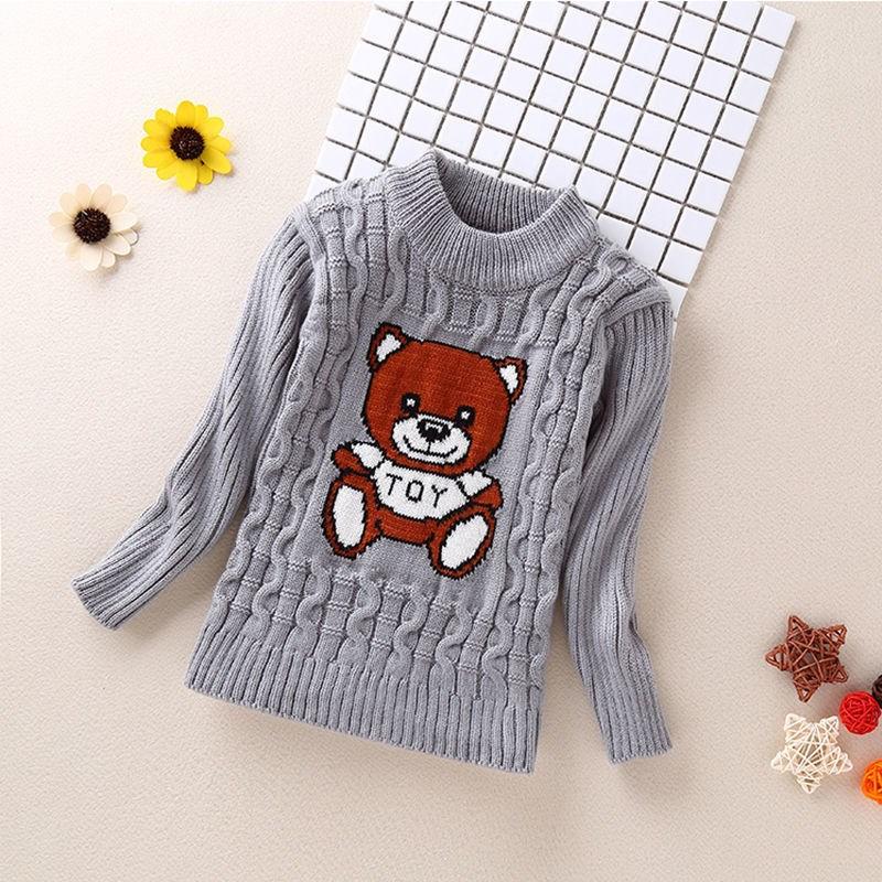 2021s full body plush baby sweater childrens wear childrens high low collar girls sweater boys bottom warm knitting