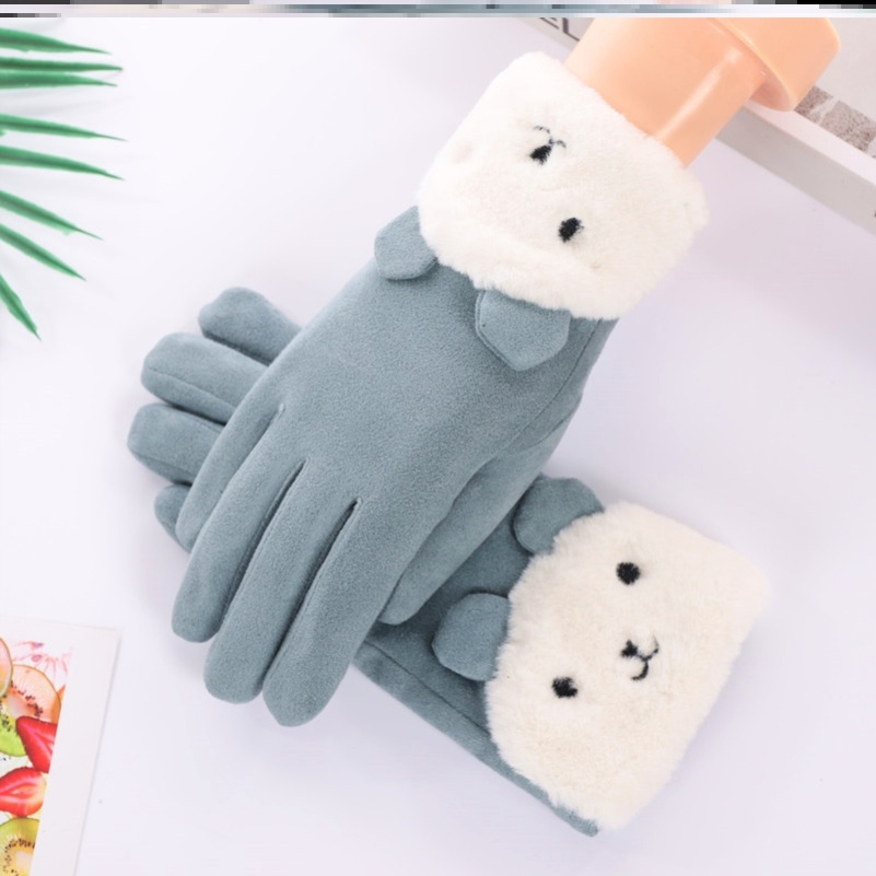 Womens open two finger warm driving gloves Plush Korean motorcycle open five finger outdoor baby football
