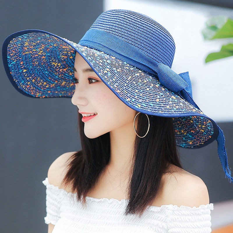 Discount foldable beach women enjoy summer sun hat holiday straw hat sun hat spring sun hat seaside