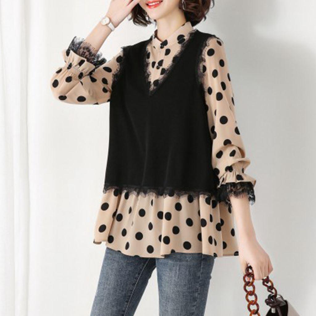 拉·贝缇 2021春季款港味圆点雪纺假两件长袖复古韩版格子衬衫女