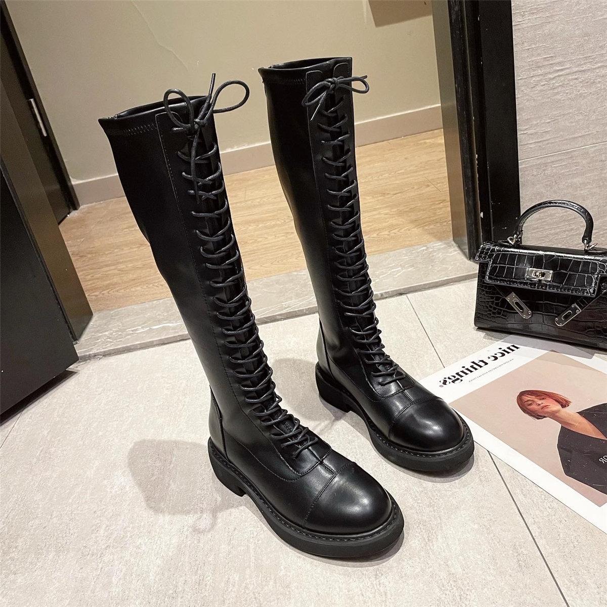 「鞋阅」圆头高筒中跟长筒女靴21秋季新款高筒马丁靴粗跟厚底靴子