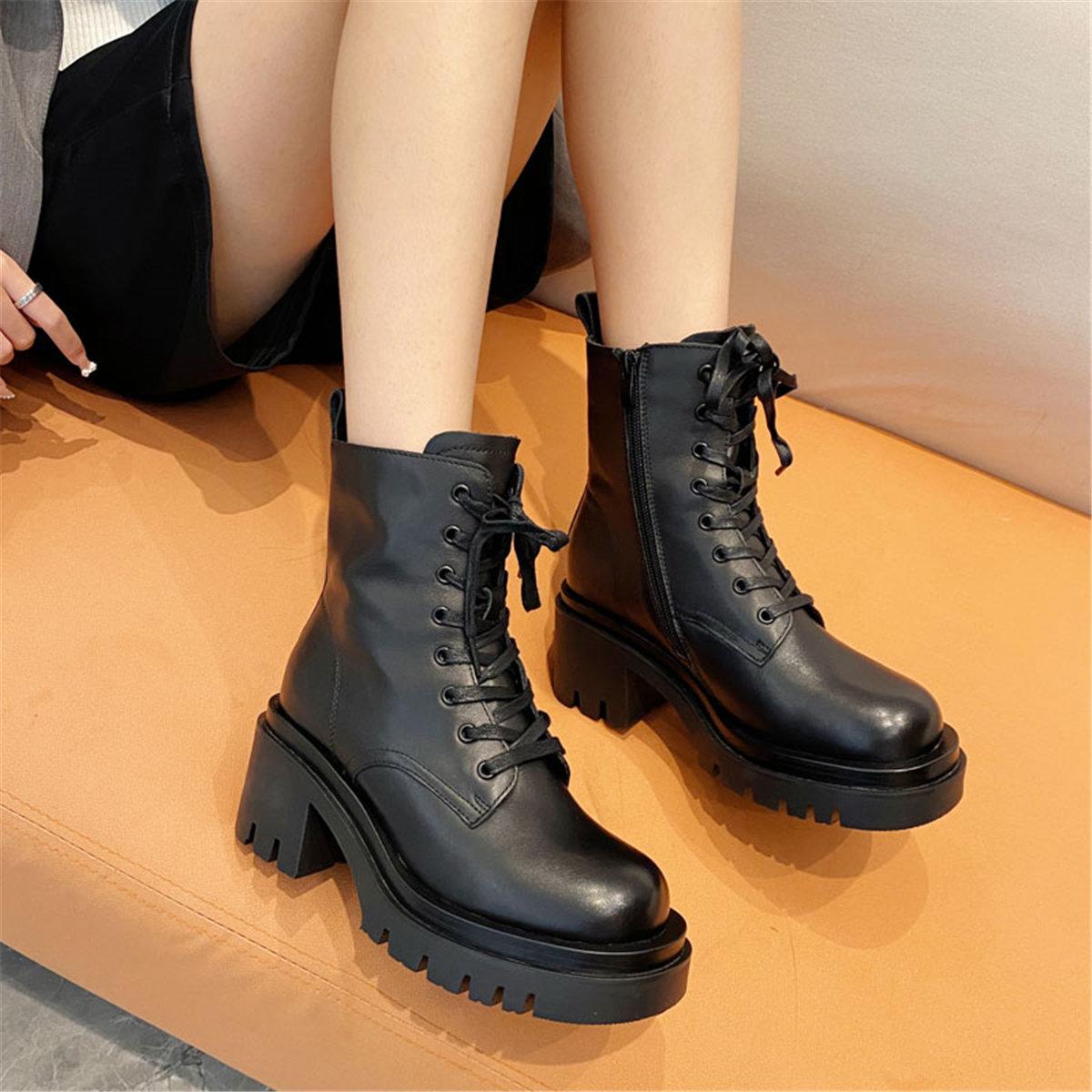 「鞋阅」真皮厚底粗跟短靴增高头层牛皮女单靴时尚百搭系带马丁靴