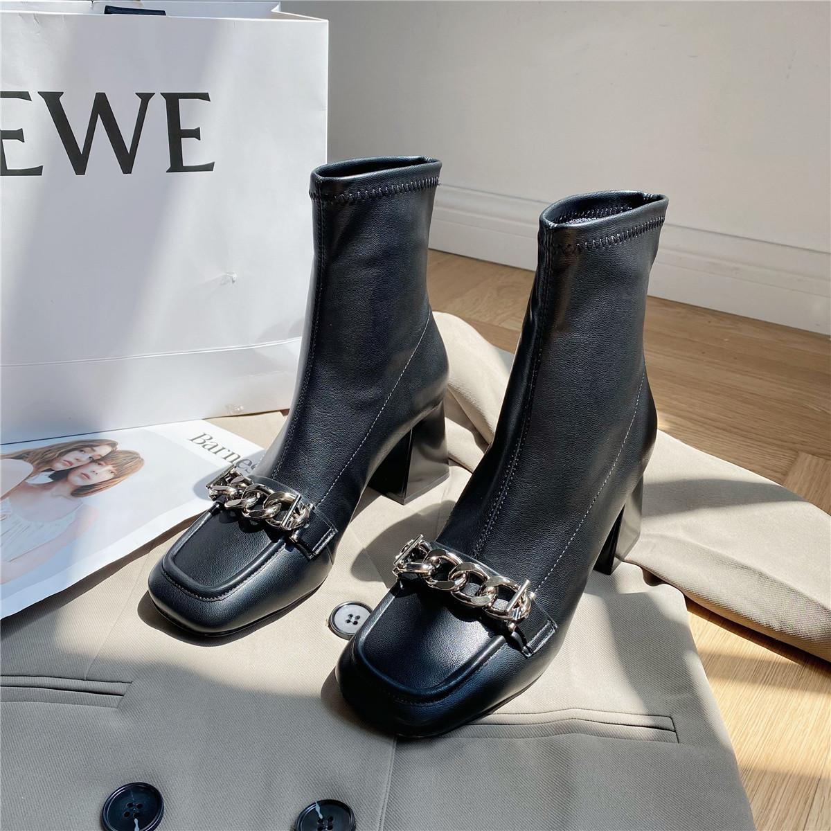 「鞋阅」新款时装短靴女粗跟欧美金属链条方头套筒短筒时尚女靴子
