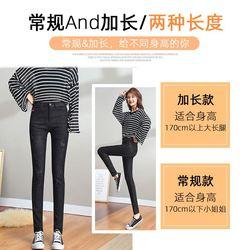 烟灰色高腰加长大码牛仔裤女显瘦学生黑色弹力小脚铅笔长裤高个子