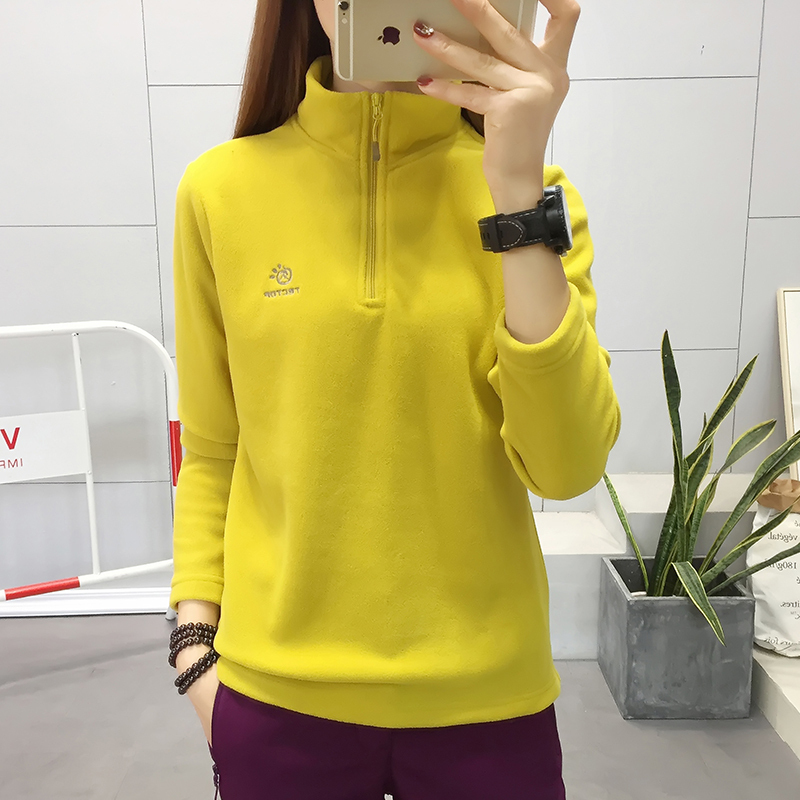 Autumn and winter stand collar Pullover fleece for male and female couples outdoor mountaineering clothing thickened warm bottomed shirt