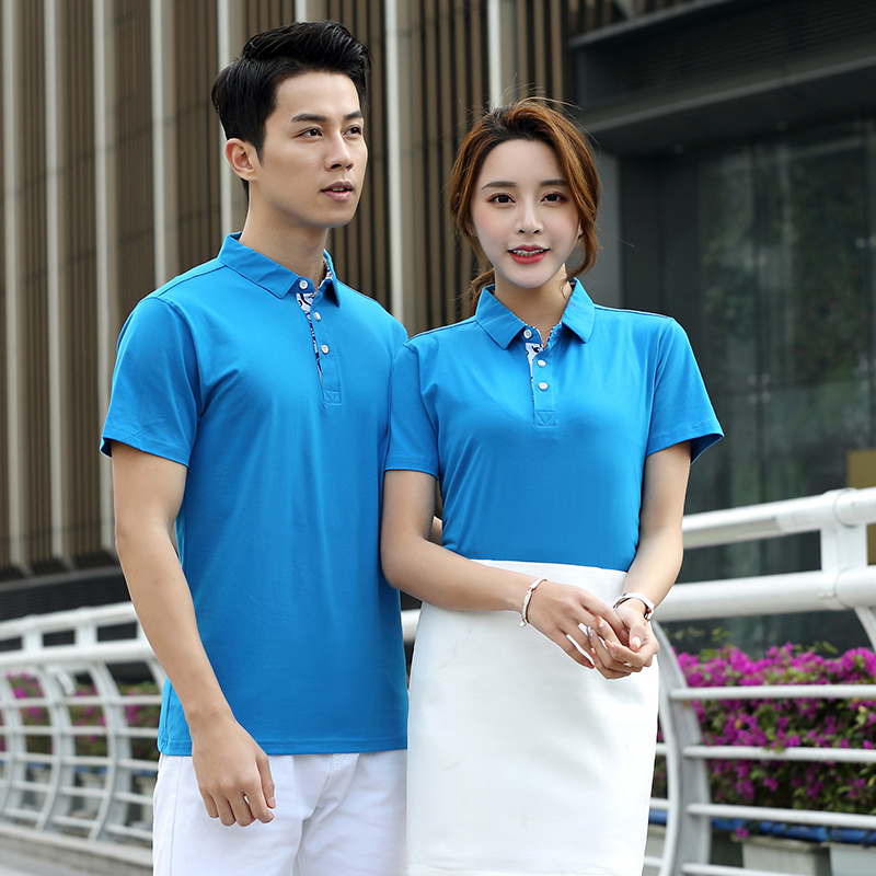 Blue and white porcelain plain T-shirt short sleeve enterprise company work clothes custom printed logo factory clothes advertising clothes