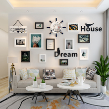 Nordic living room photo wall decoration sofa background wall hole free ins room photo frame creative wall hanging combination