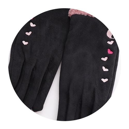 Gloves Winter female cycling with skin warm cotton cold proof student touch screen five fingers suede thin cycling autumn and winter