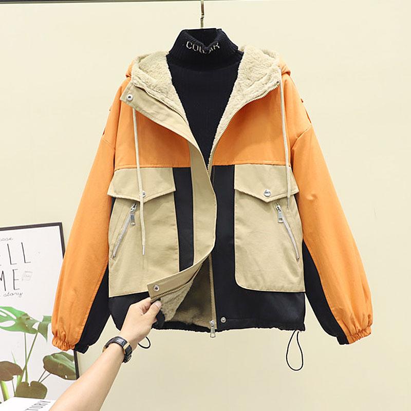 2021欧洲站秋冬新款欧货拼接工装夹克上衣宽松拼色洋气加绒外套女