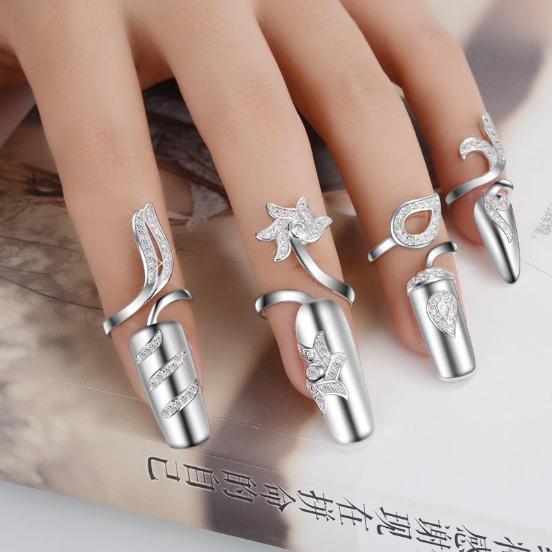 Fingernail palace false finger armor set with jewelry opening adjustable joint ring female fashion personality simple