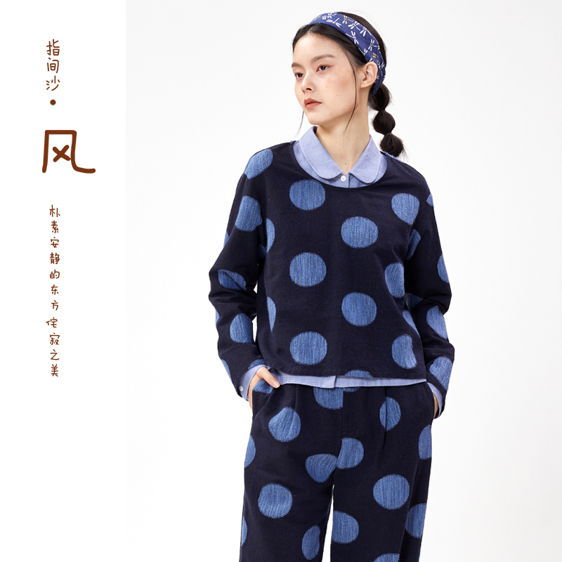 New Japanese Long Sleeve round neck Polka Dot T-shirt for women in spring and summer 2021