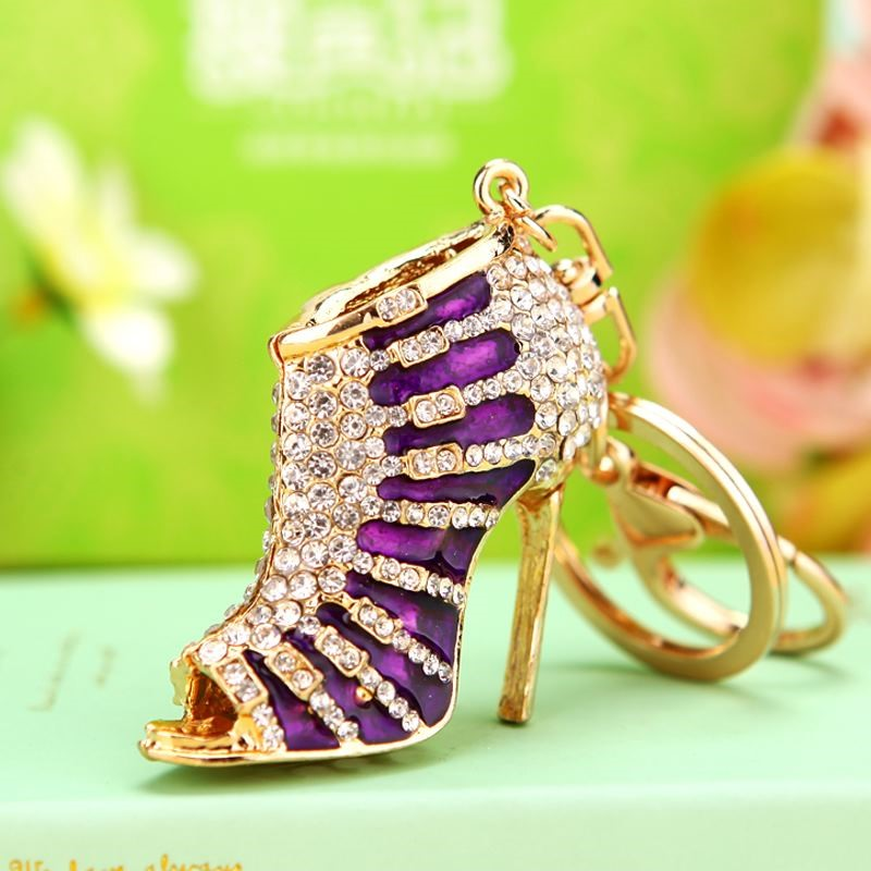 Crystal diamond high-heeled shoes car key ring female Korea lovely creative bag pendant key chain ring gift.