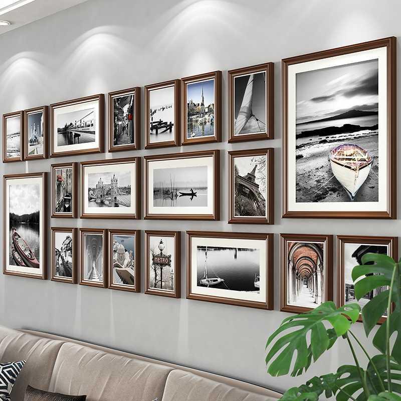 客厅照片墙装饰免打孔相框墙上相片墙贴相册框挂墙组合创意背景。