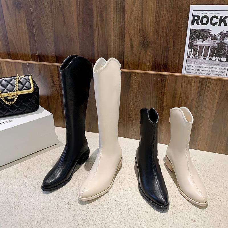 西部牛仔靴冬季长筒靴2021新款后拉链粗跟骑士靴高筒女靴白色靴子
