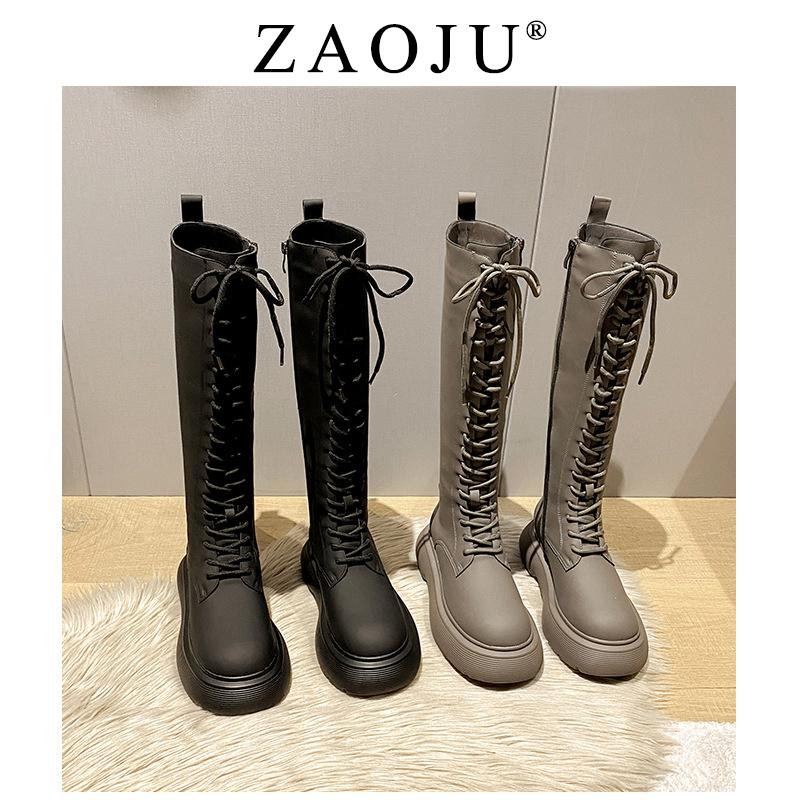 灰色绑带长靴秋冬显瘦骑士靴网红爆款靴子女秋冬新款长筒靴高筒靴