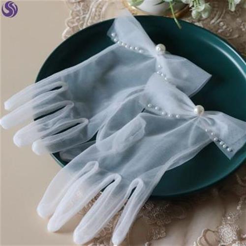 手套新娘仙气短款蕾丝森系结婚白色婚礼优雅婚纱装饰配件简约薄款