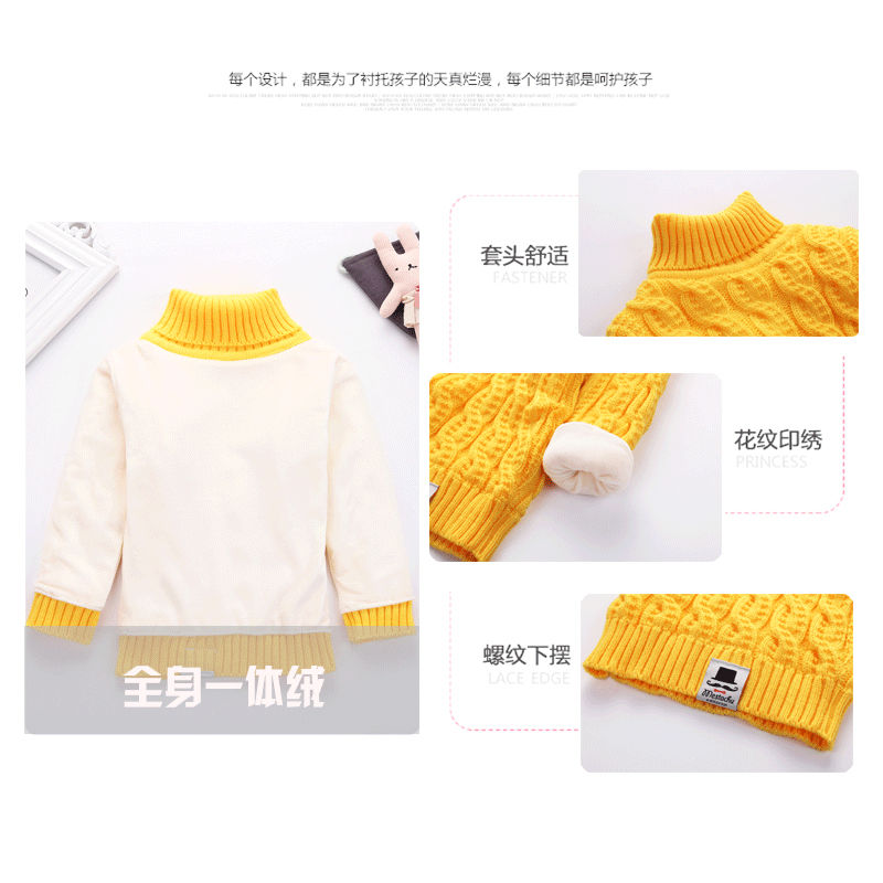Sweater childrens knitting collar high and low autumn and winter with Pullover backing childrens thickened boys sweater childrens collar down