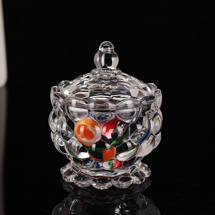 Glass sugar jar coffee sugar jar square sugar jar glassware sugar jar with lid European sugar jar sugar cup white granulated sugar