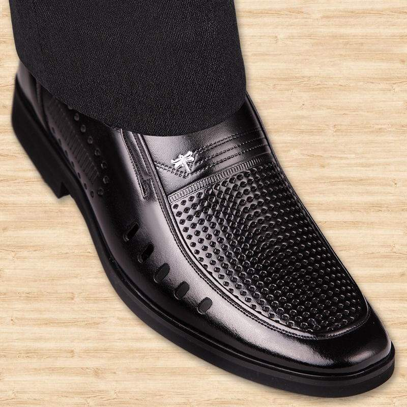 Genuine perforated summer hollow out mens sandals genuine leather business dress mens shoes with perforated inner sandals