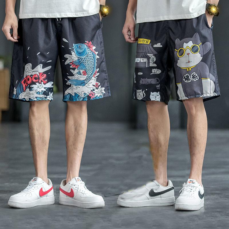 夏季休闲宽松五分裤男士短裤大裤衩运动大码速干中裤沙滩裤男