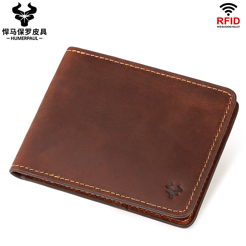 Crazy Horse cowhide new ultra thin RFID mens wallet double fold short clip mens wallet