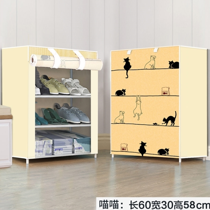 Closed simple shoe storage rack economical space saving dormitory small shoe rack shoe cabinet firm iron canvas home